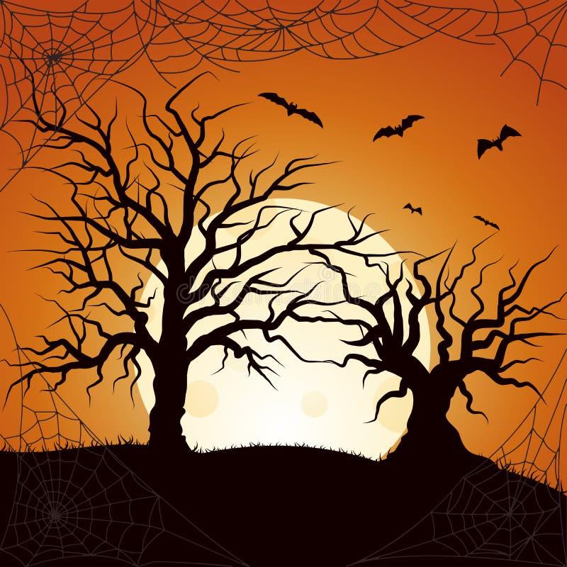 Silhueta do bastão do voo e da grama da árvore Cartaz colorido em um estilo escuro para o partido de Dia das Bruxas ilustração do vetor