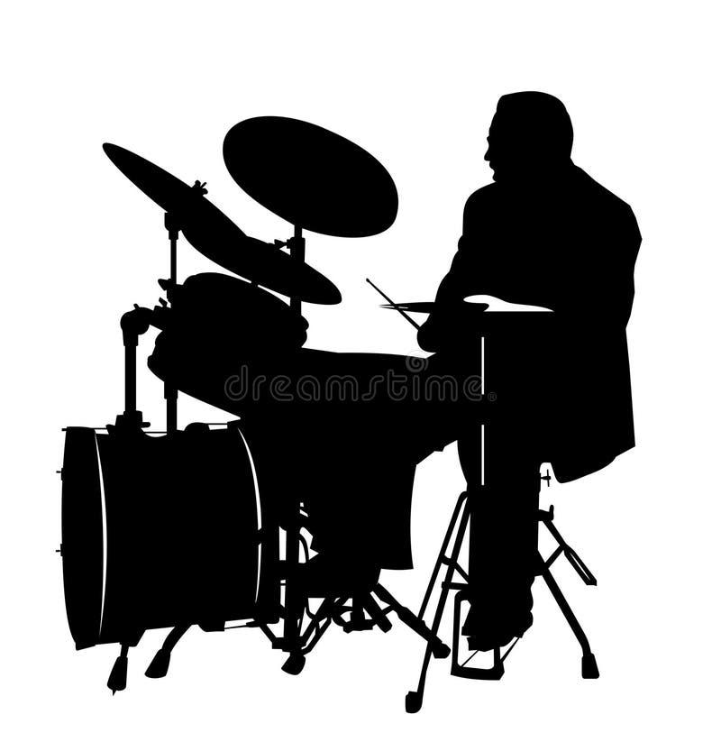 Silhueta do baterista ilustração do vetor