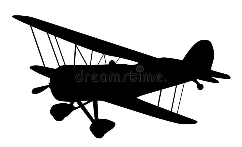 Silhueta do biplano do vintage ilustração do vetor