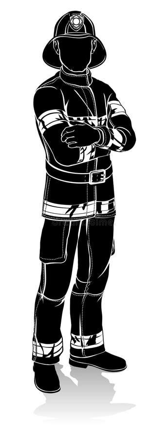 Silhueta do bombeiro ilustração stock