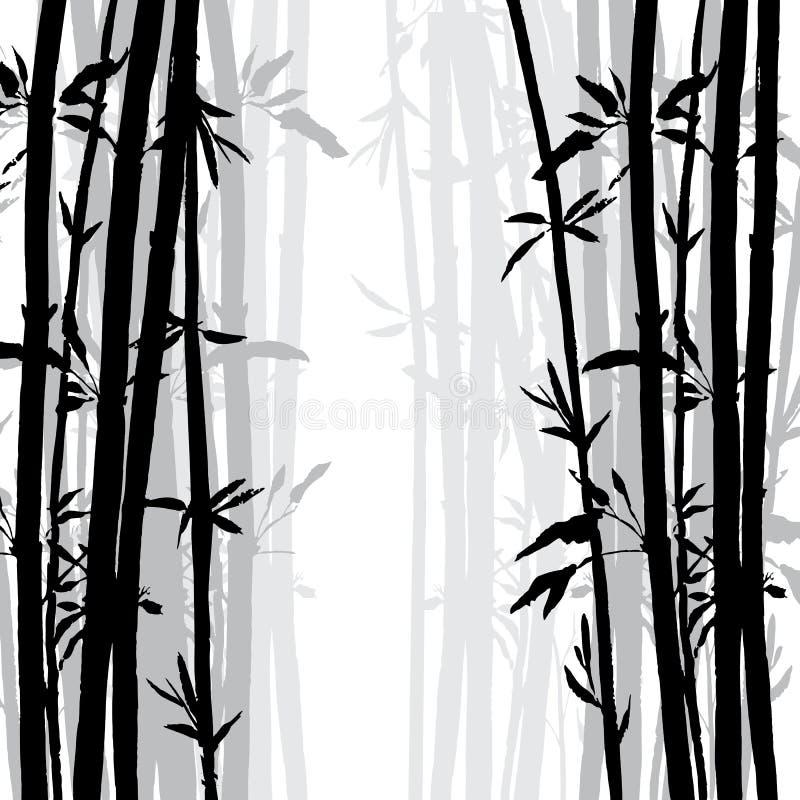 Silhueta do bosque de bambu ilustração stock