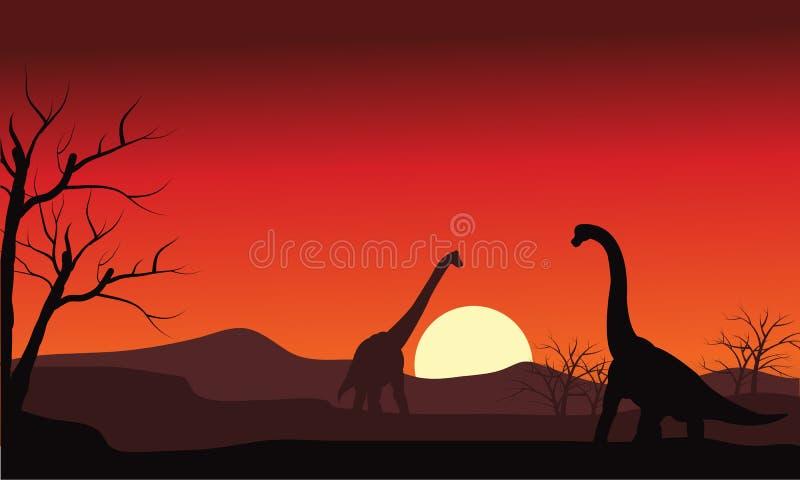 Silhueta do brachiosaurus dois no por do sol ilustração royalty free