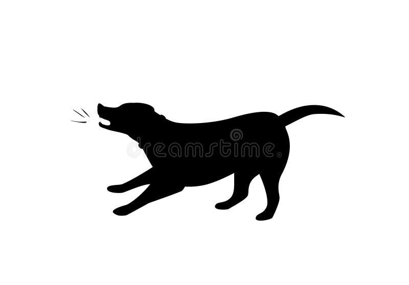 Silhueta do cão do descascamento no vetor preto da cor ilustração do vetor