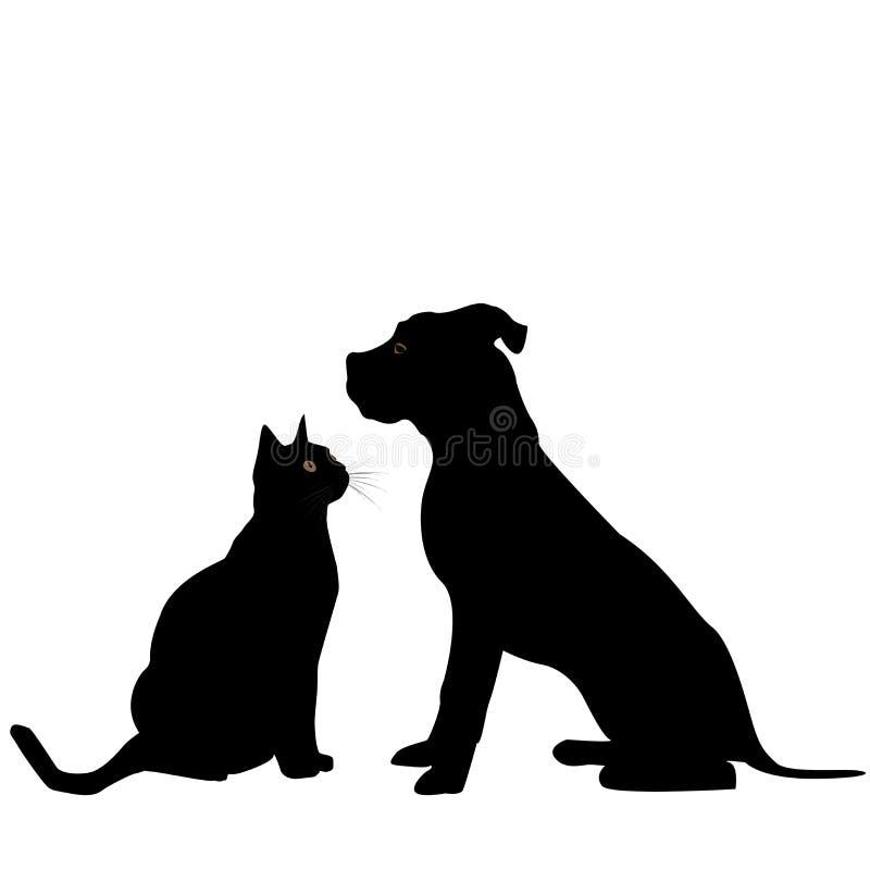 Silhueta do cão e gato ilustração stock