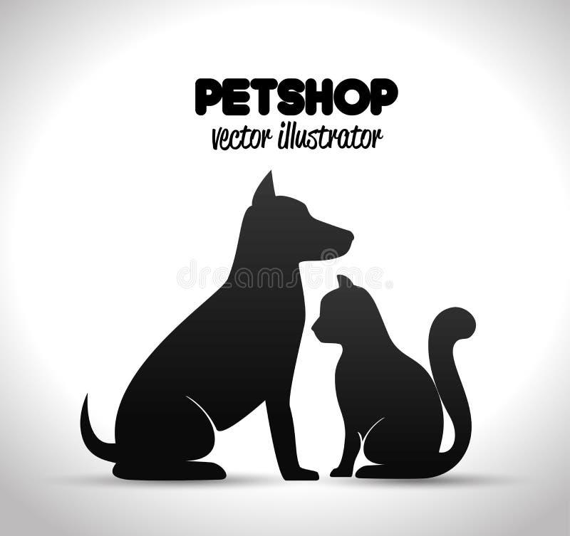silhueta do cão e gato do cartaz da loja de animais de estimação ilustração stock