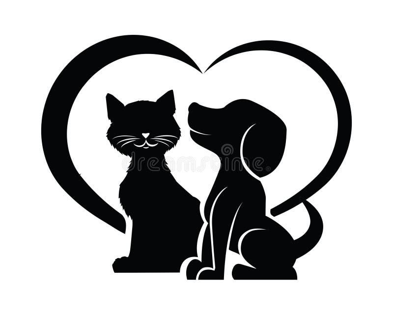 Silhueta do cão e gato em uma forma do coração ilustração royalty free