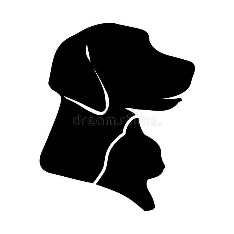 Silhueta do cão e gato do vetor ilustração stock