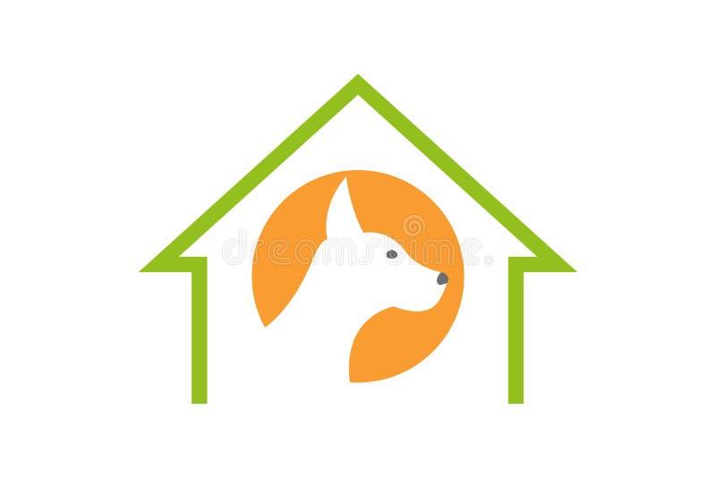 Silhueta do cão no círculo alaranjado dentro da casa dos animais de estimação da cor verde ilustração stock