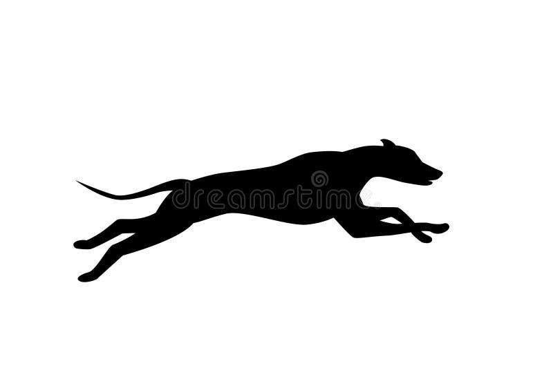 Silhueta do cão running na cor preta ilustração do vetor