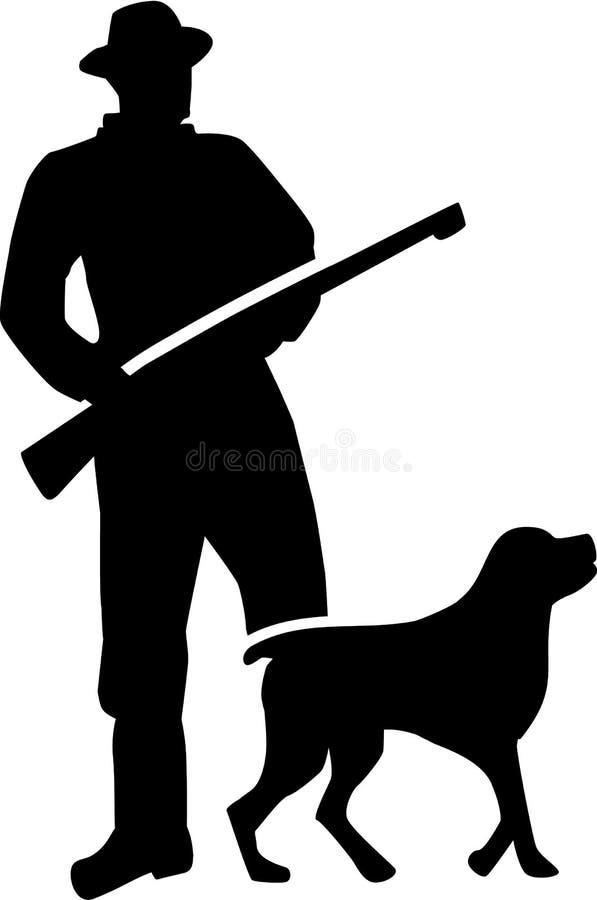 Silhueta do caçador com cão ilustração stock