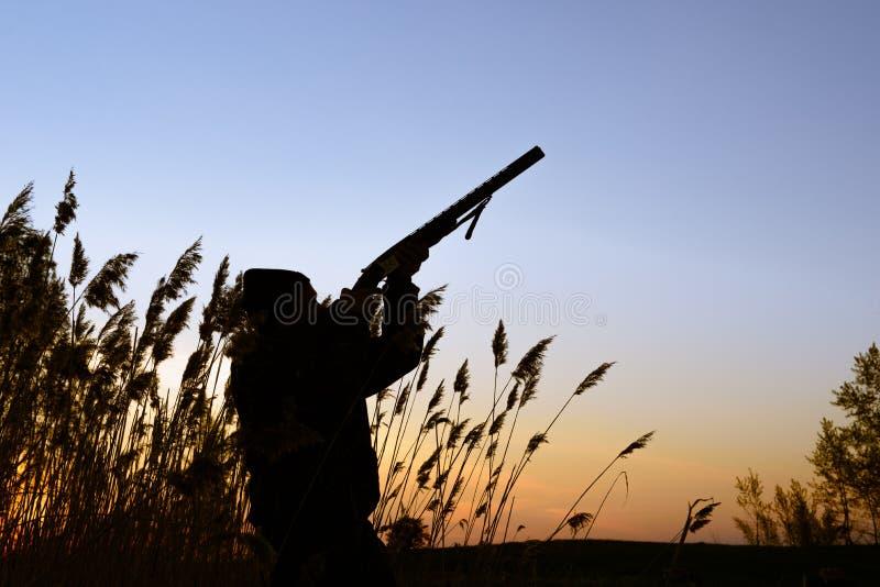 Silhueta do caçador no por do sol imagens de stock royalty free