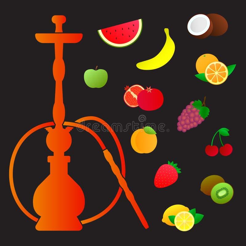 Silhueta do cachimbo de água com sabores diferentes do fruto Vários aditivos de sabor ilustração royalty free