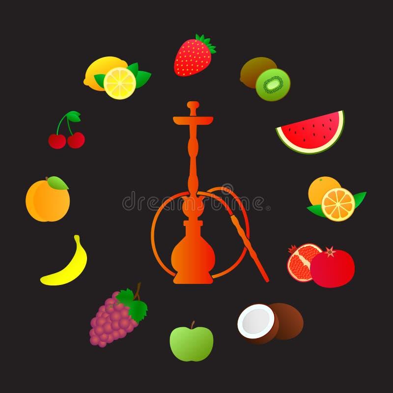 Silhueta do cachimbo de água com sabores diferentes do fruto Vários aditivos de sabor Ilustração do vetor para o menu do cachimbo ilustração royalty free