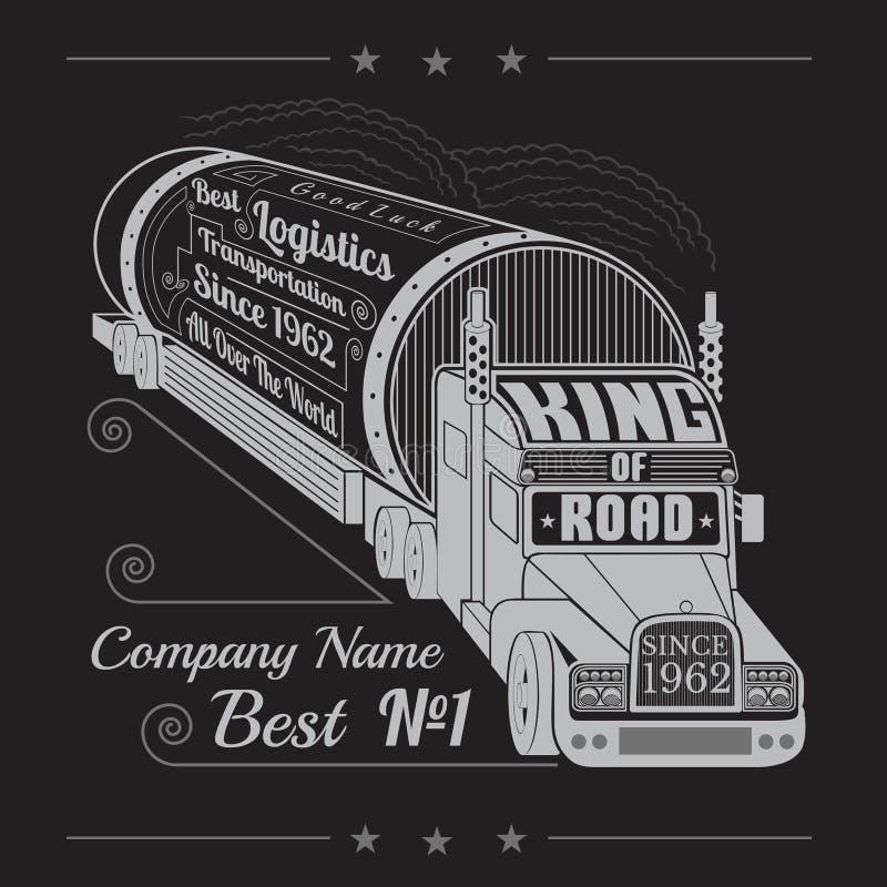 Silhueta do caminhão com o reboque do gás ou do óleo e do rei da rotulação da estrada ilustração royalty free