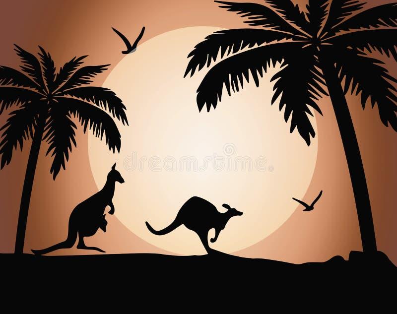 Silhueta do canguru no por do sol ilustração stock
