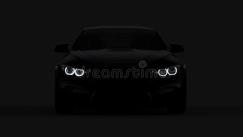 Silhueta do carro de esportes preto com os faróis no preto ilustração royalty free