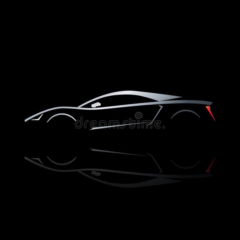 Silhueta do carro desportivo do conceito com reflexão ilustração royalty free