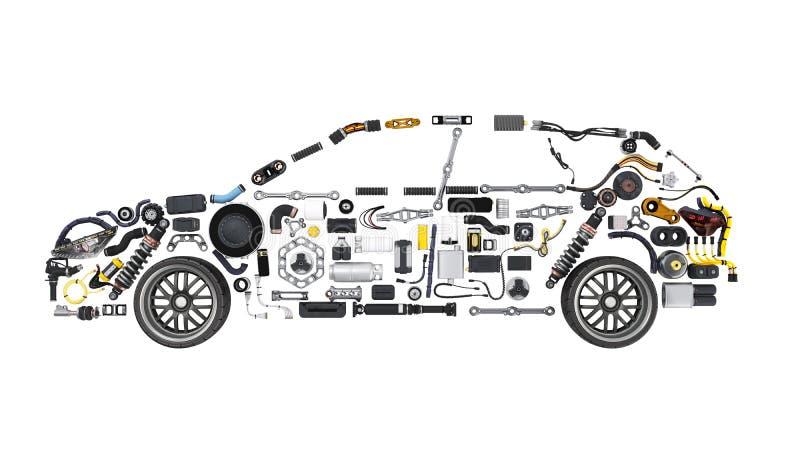 A silhueta do carro feita dos detalhes 3d não rende no branco nenhuma sombra ilustração stock