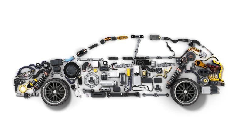 A silhueta do carro feita dos detalhes 3d rende no branco ilustração do vetor