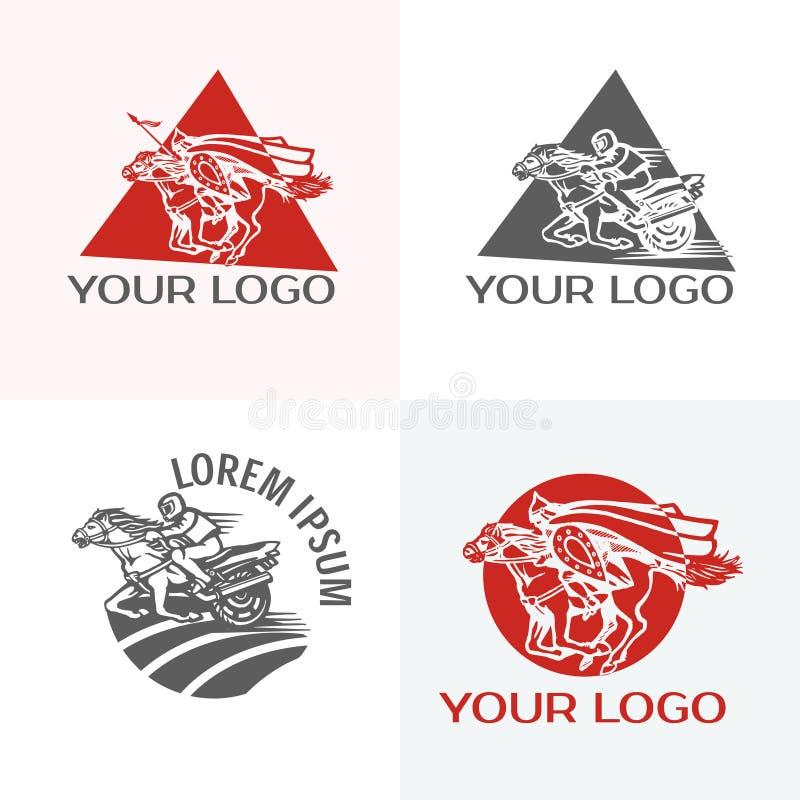 Silhueta do cavalo de competência com jóquei Esporte equestre O vintage bikes o logotipo do vetor do clube do motor T do logotype ilustração do vetor