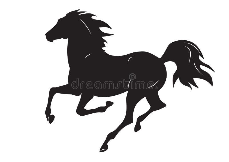 Silhueta do cavalo running preto - vector a ilustração do cavalo ilustração stock