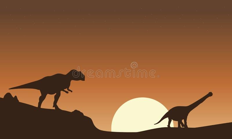 Silhueta do cenário do mapusaurus e do argentinosaurus ilustração stock