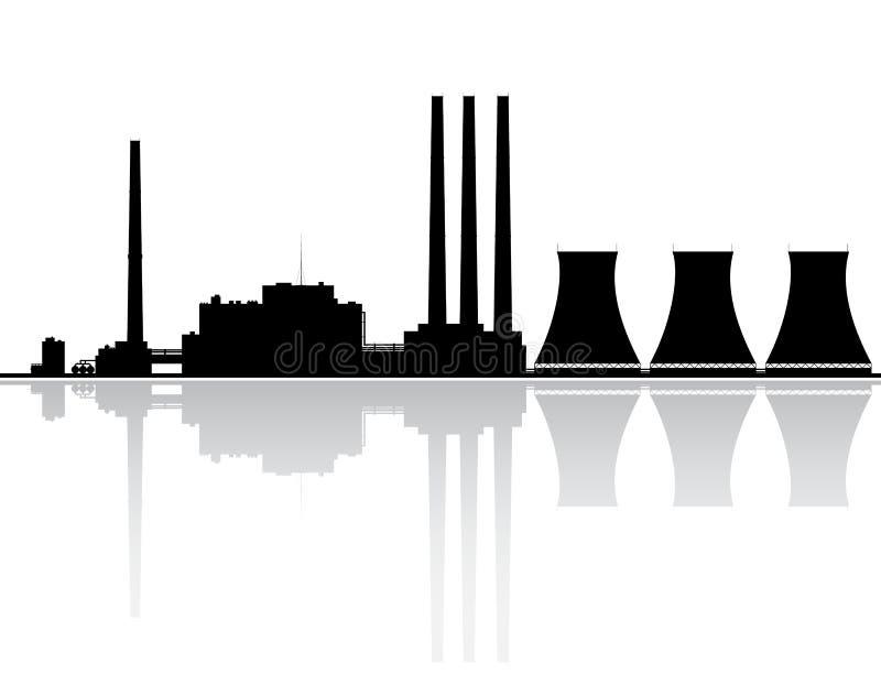 Silhueta do central eléctrica ilustração stock