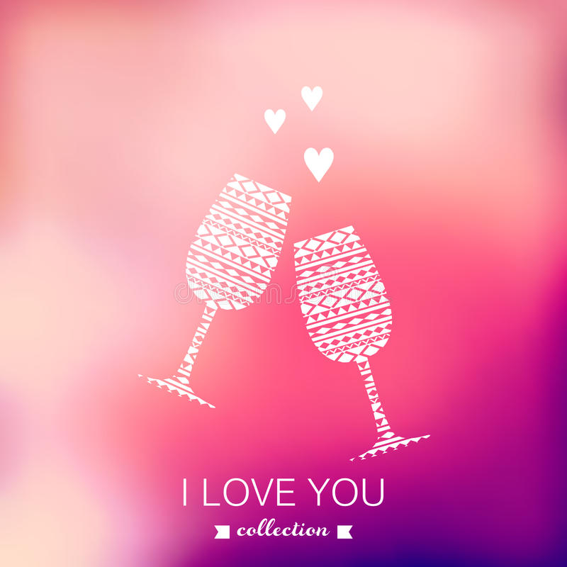 Silhueta do champanhe do vetor, fundo do dia de Valentim borrado ilustração stock