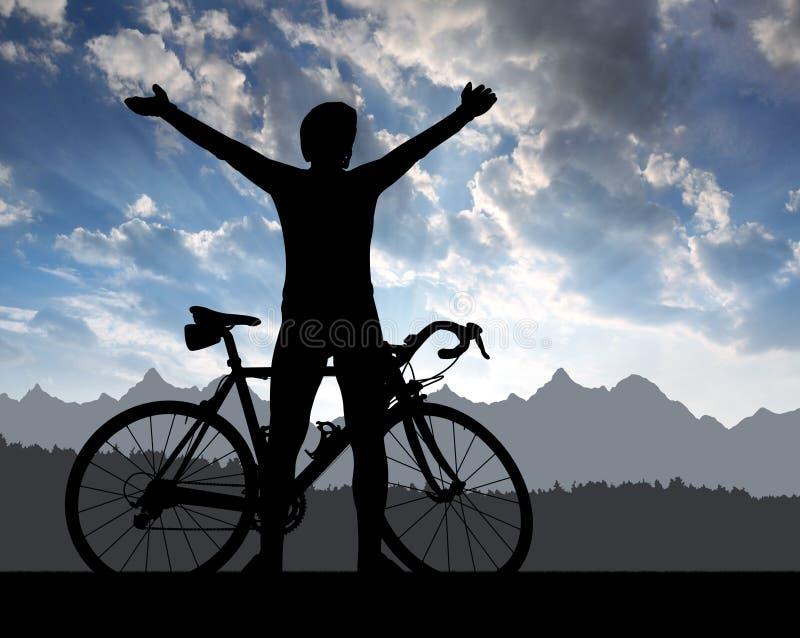 Silhueta do ciclista ilustração stock