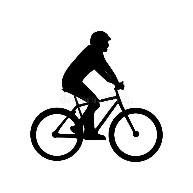 Silhueta do ciclista - ilustração preta do vetor - isolada no fundo branco ilustração royalty free