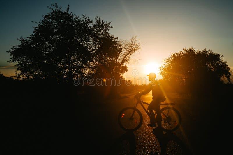 A silhueta do ciclista no Mountain bike no por do sol foto de stock royalty free