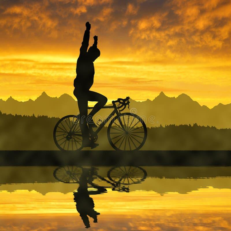 Silhueta do ciclista que monta uma bicicleta da estrada fotos de stock royalty free