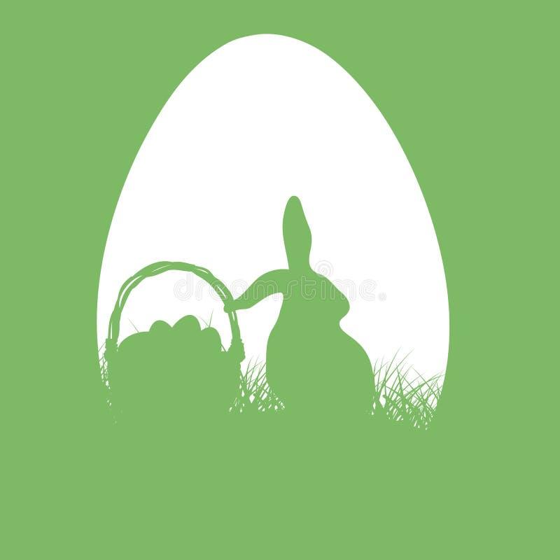 Silhueta do coelhinho da Páscoa com uma cesta Ilustração de Easter ilustração stock