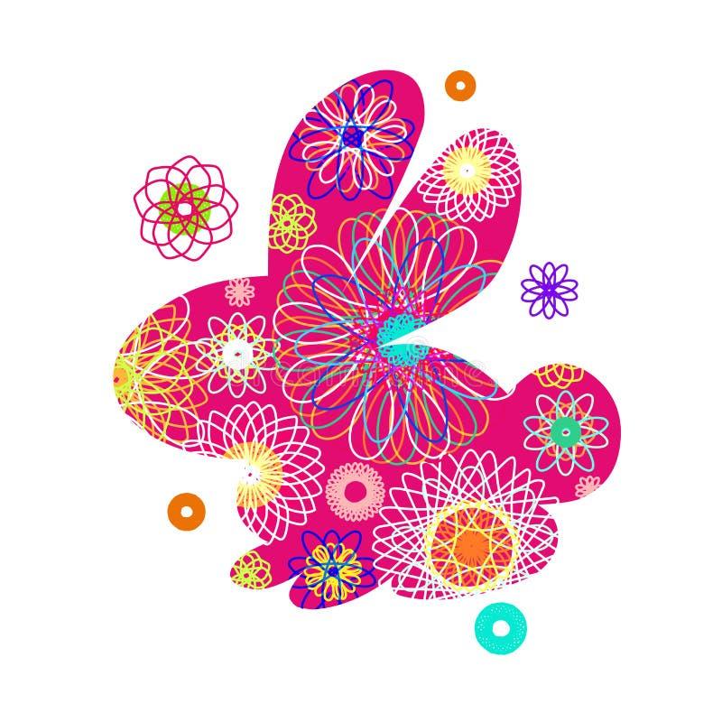 Silhueta do coelho com um teste padrão abstrato brilhante Ilustração do vetor isolada no fundo branco Coelho incomum para a Pásco ilustração do vetor