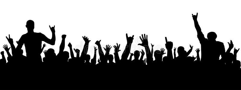 Silhueta do concerto de rocha Uma multidão de povos em um partido Silhueta alegre da multidão Os povos do partido, aplaudem ilustração do vetor