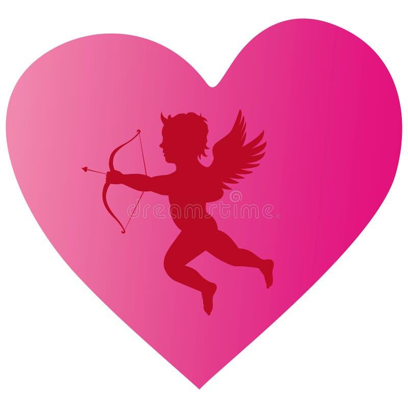 Silhueta do coração do Cupid ilustração do vetor