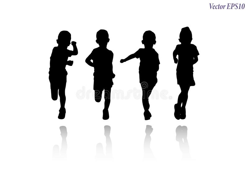 Silhueta do corredor atlético da menina Isolado no backgroun branco ilustração do vetor