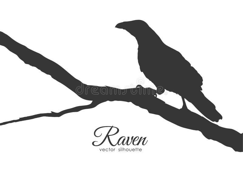 Silhueta do corvo que senta-se em um ramo seco ilustração stock