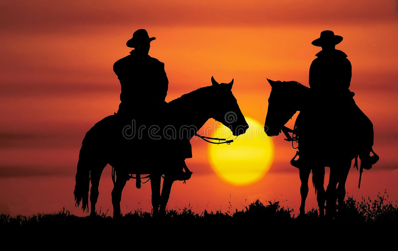 Silhueta do cowboy fotografia de stock royalty free