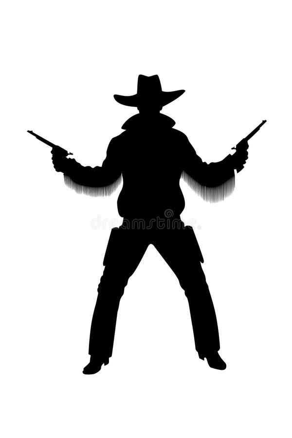 Silhueta do cowboy com revólveres ilustração do vetor