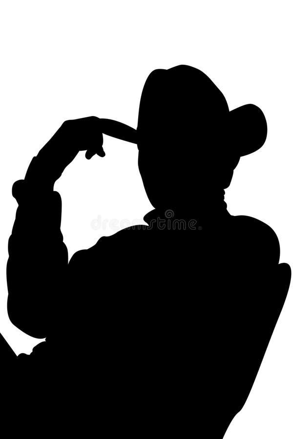 Silhueta do cowboy com trajeto de grampeamento ilustração stock