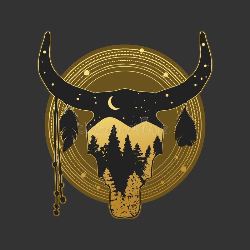 Silhueta do crânio da vaca com paisagem ilustração do vetor