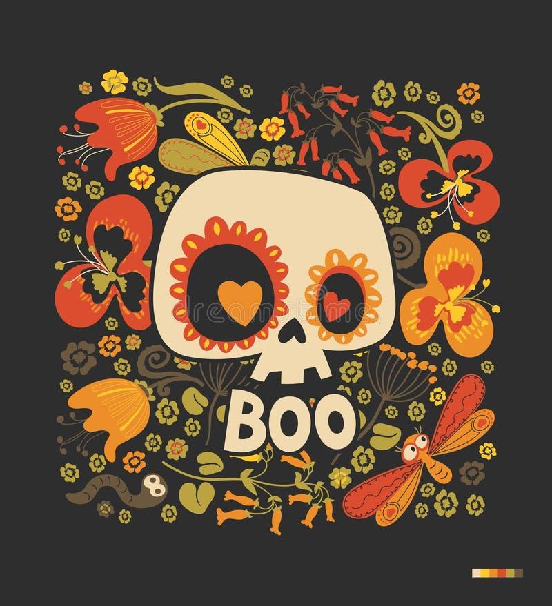 Silhueta do crânio do açúcar dos desenhos animados com olhos do coração, o ornamento floral e as flores coloridos no fundo preto  ilustração do vetor