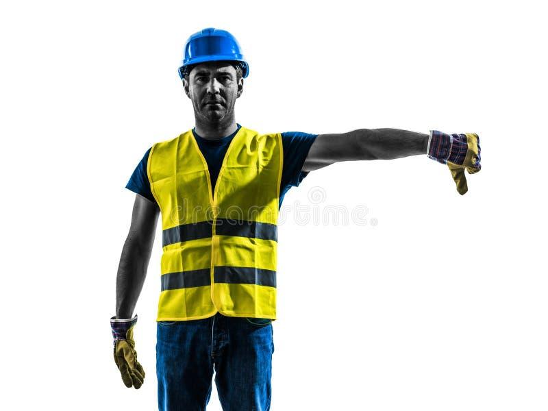Silhueta do crescimento da veste da segurança da sinalização do trabalhador da construção mais baixa imagem de stock royalty free