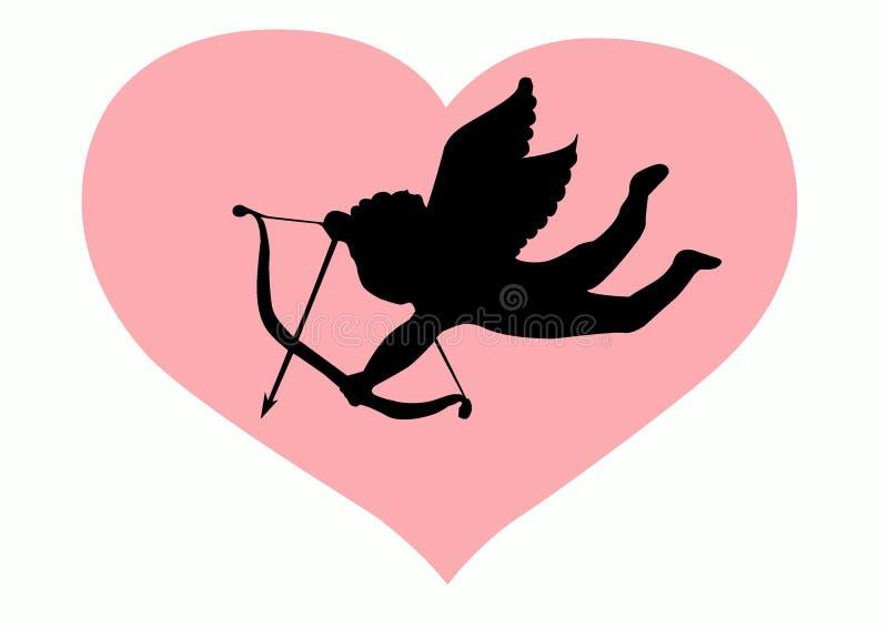 Silhueta do Cupid do amor ilustração royalty free