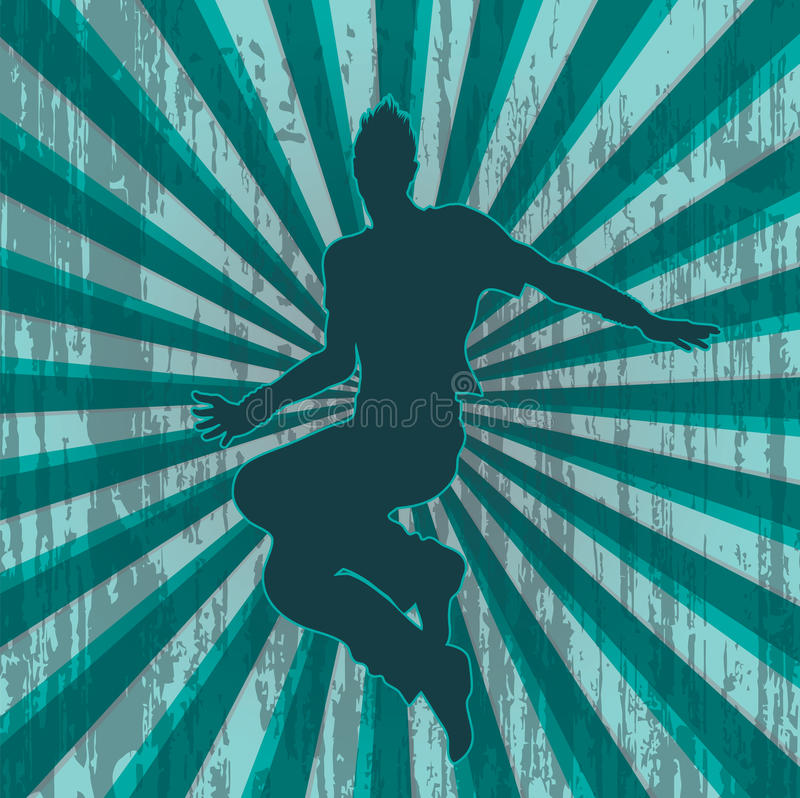 Silhueta do dançarino com fundo sujo ilustração royalty free