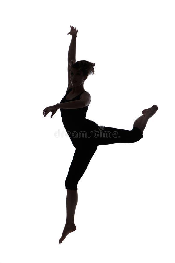Silhueta do dançarino da mulher imagem de stock royalty free