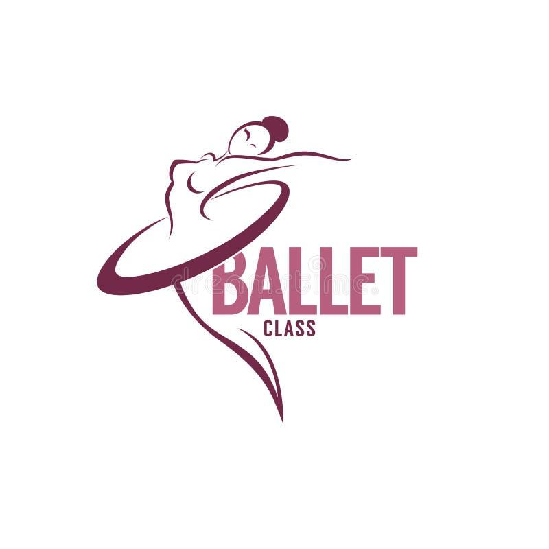 Silhueta do dançarino de bailado da beleza, molde do logotipo do vetor ilustração royalty free