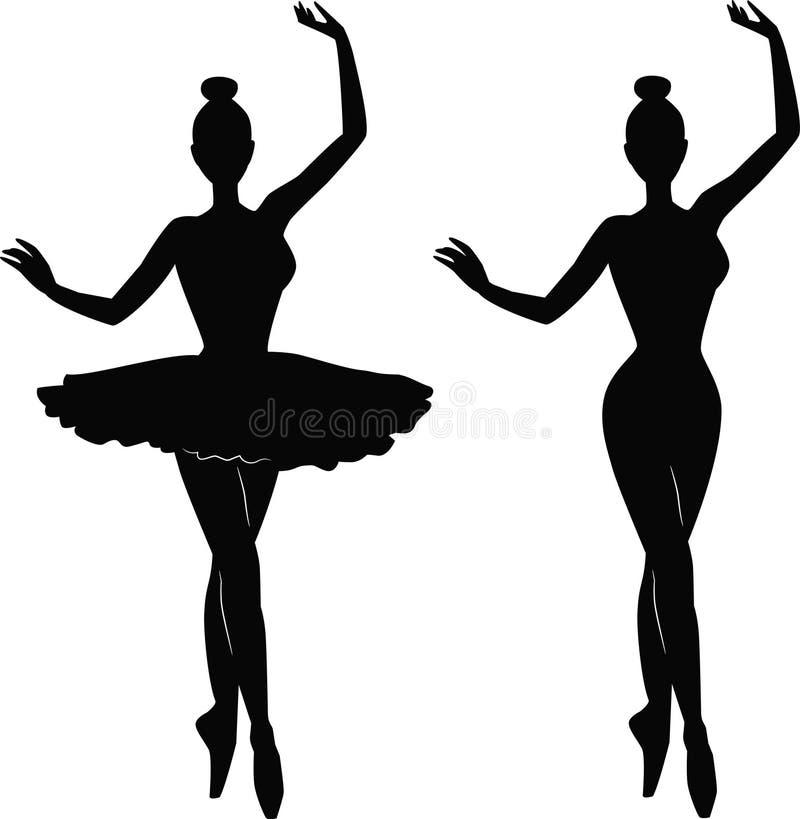 Silhueta do dançarino de bailado da mulher ilustração do vetor