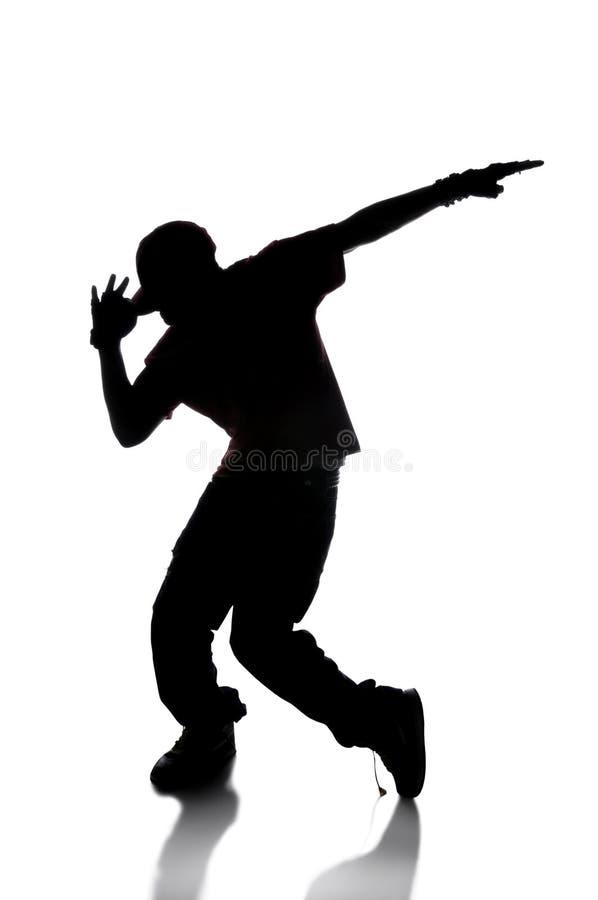 Silhueta do dançarino de Hip Hop imagem de stock